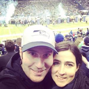 Aaron Blank, his wife, Lacey Yantis, at the NFC Championship game in Seattle.